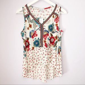 Patrons of Peace Ivory Floral Tank Top